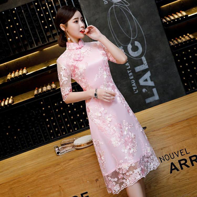 改良版旗袍2020新款年輕少女修身復古走秀連衣裙中長款中國風大碼 夏洛特居家名品