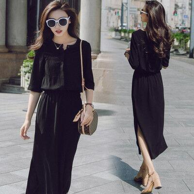 韓系女裝黑色中袖側開叉簡約收腰連身裙洋裝樂天時尚館。預購