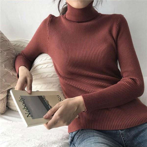 翻領 高領 螺紋 針織衫 毛衣 長袖 上衣 T 保暖 百搭 素面 顯瘦 打底衫 坑條 多色 韓 ANNA S.