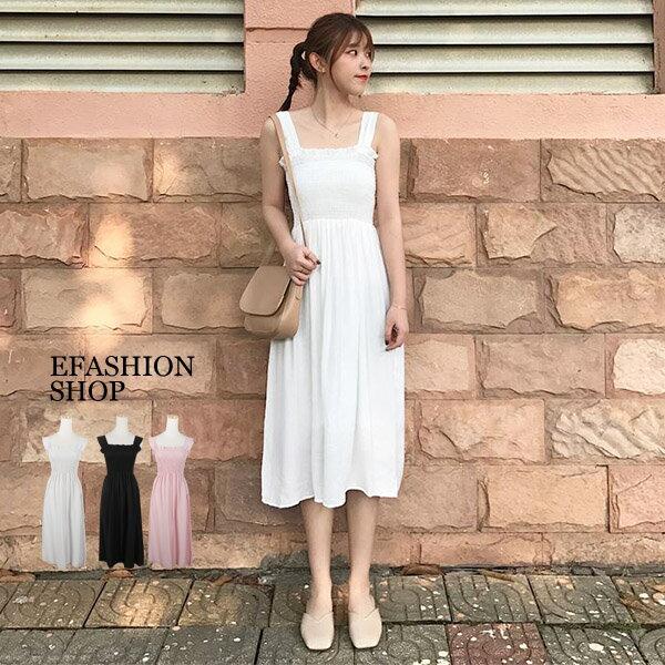 寬肩帶胸束皺背心洋裝-eFashion預【H17128100】