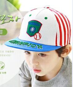Kocotree◆ 刺繡字母棒球徽章兒童休閒 鴨舌棒球帽~藍色帽沿