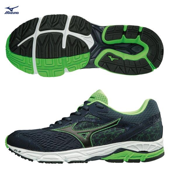 J1GC184809(黑X螢光綠)WAVEEQUATE2支撐型男款慢跑鞋【美津濃MIZUNO】
