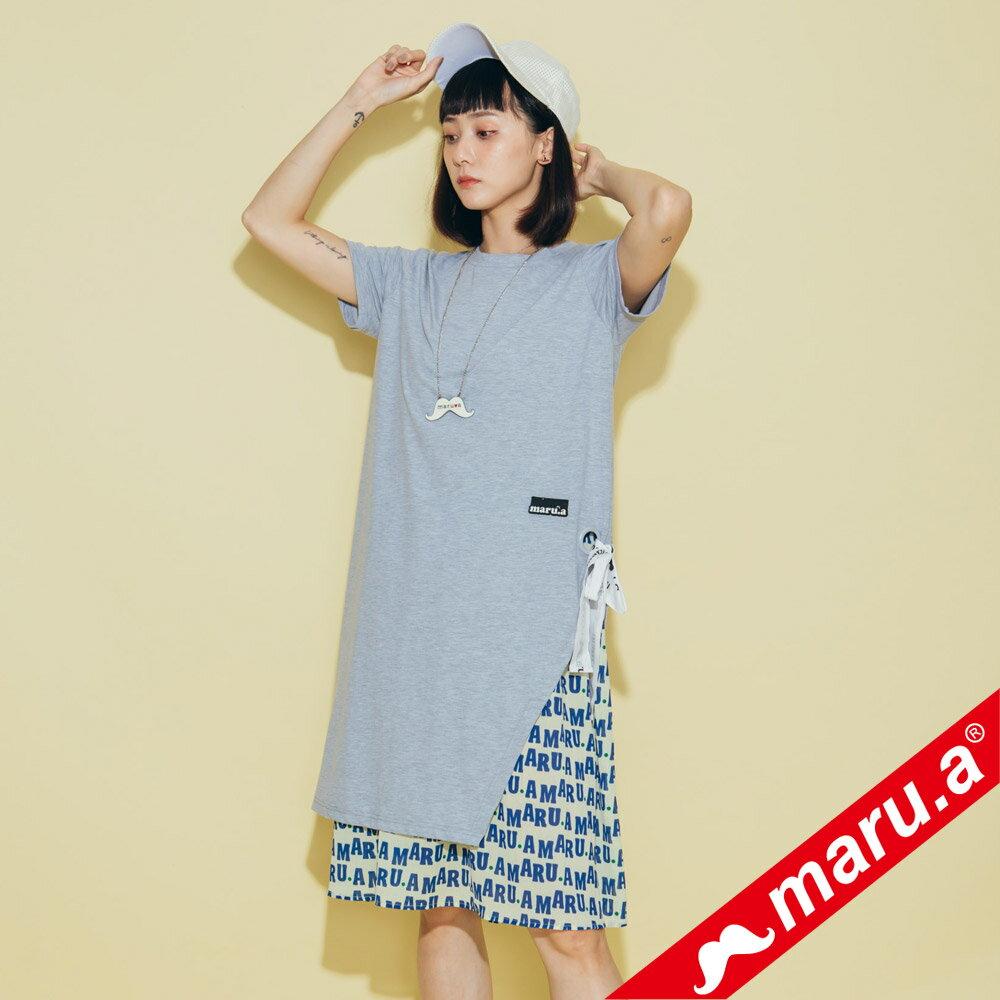 【maru.a】兩件式雪紡滿版文字內搭洋裝(2色)8327117 3