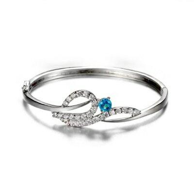 ~925純銀手環 鑲鑽手鍊~奢華浪漫耀眼迷人母親節生日情人節 女飾品6色73fg8~ ~~