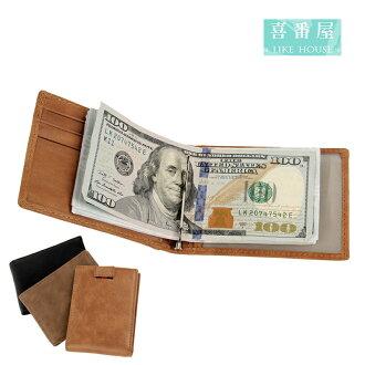 【喜番屋】日韓版真皮牛皮5卡位1cm超薄2折皮夾皮包錢夾錢包短夾流行男包男夾LH385