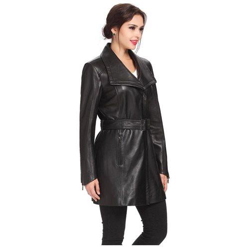 "BGSD Women's ""Fiona"" New Zealand Lambskin Leather Trench Coat 2"