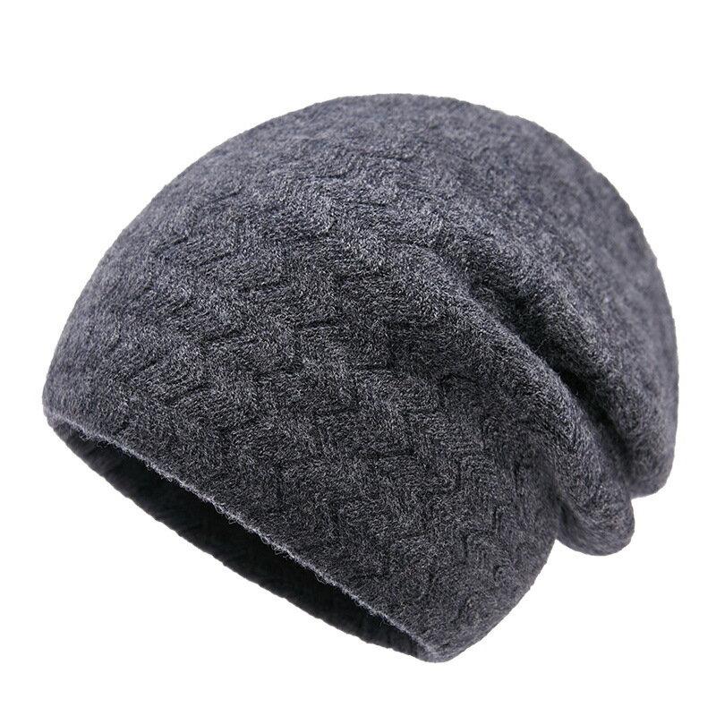 毛帽羊毛針織帽-純色毛線波浪紋防寒男帽子5色73wj22【獨家進口】【米蘭精品】 0