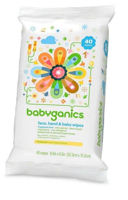 【彤彤小舖】BabyGanics 植物性手臉嬰兒超溫和濕紙巾 無酒精無香 40抽 美國進口