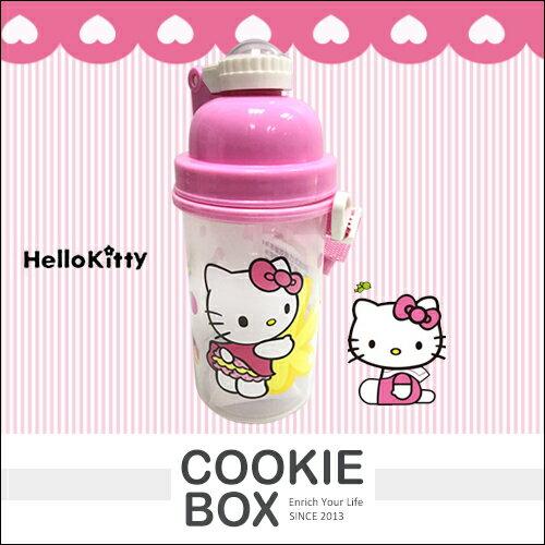 三麗鷗 Kitty 屁屁 彈跳 水壺 500cc 冷水壺 水瓶 兒童 背帶 有吸管 台灣製 禮物 授權 *餅乾盒子*