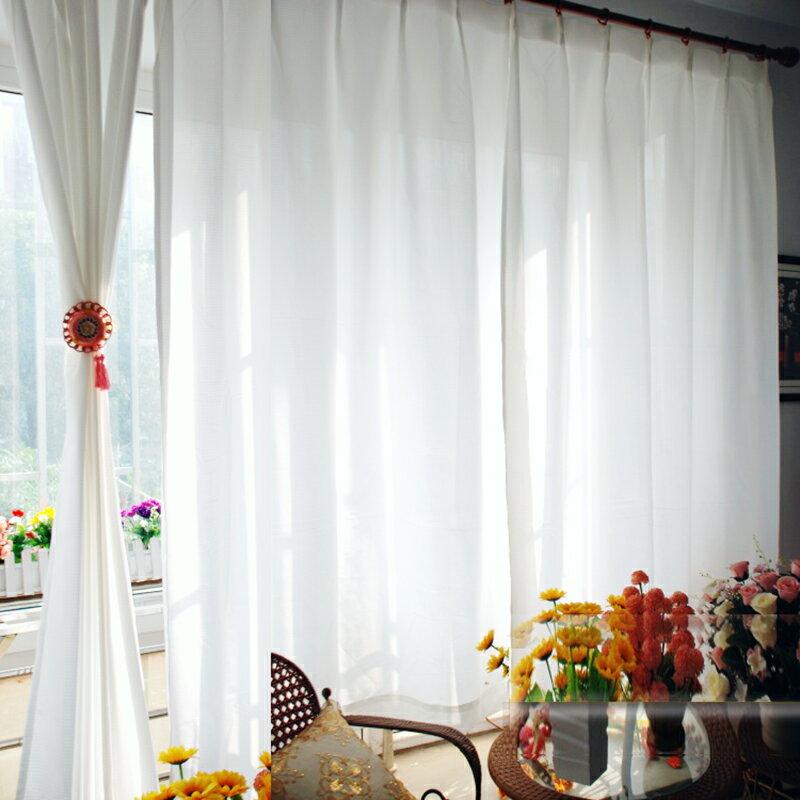 +日本格純白皺摺窗簾 【單片含皺摺寬100*高175cm】皺摺造型☆掛勾設計+