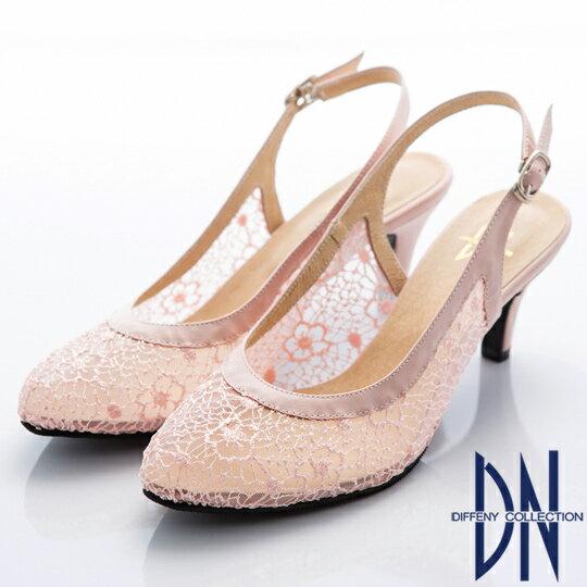 DN 甜美名媛 鏤花透膚蕾絲後拉帶高跟涼鞋-粉