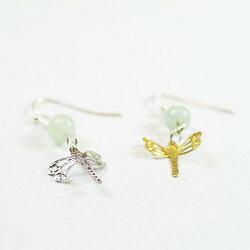 【藏金湖】蜻蜓樂耳環|夾式耳環針式耳環可換純銀針|蘋果瑪瑙|黃銅鍍銀.18K金|天然石耳環,中國古風飾品E12