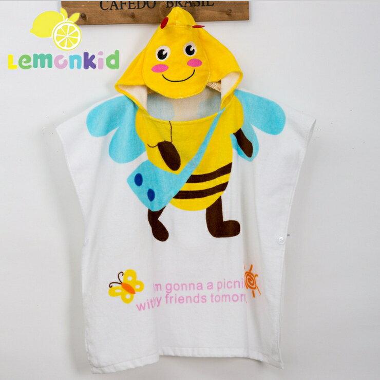 Lemonkid檸檬寶寶◆可愛卡通造型吸水柔軟全棉寬大舒適兒童嬰兒蓋毯浴巾浴袍60cm*120cm-黃色蜜蜂