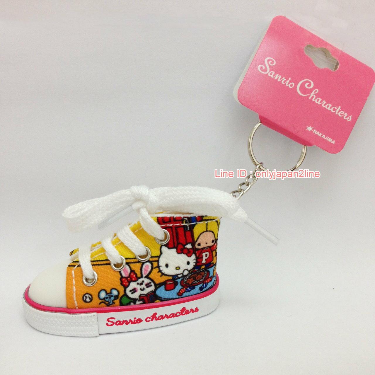 【真愛日本】17022100049迷你帆布鞋鎖圈-MX70年代房間黃    三麗鷗 Hello Kitty 凱蒂貓   鑰匙圈 鎖圈 吊飾