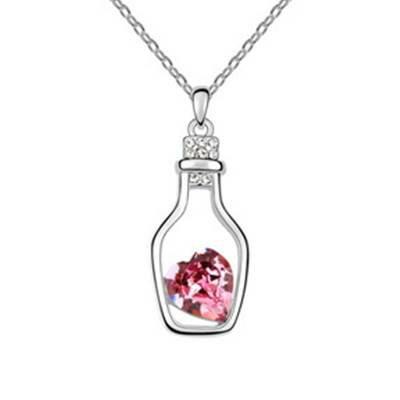 ~925純銀~項鍊 水晶吊墜~獨特瓶中心 母親節生日情人節 女飾品3色73bb5~ ~~米