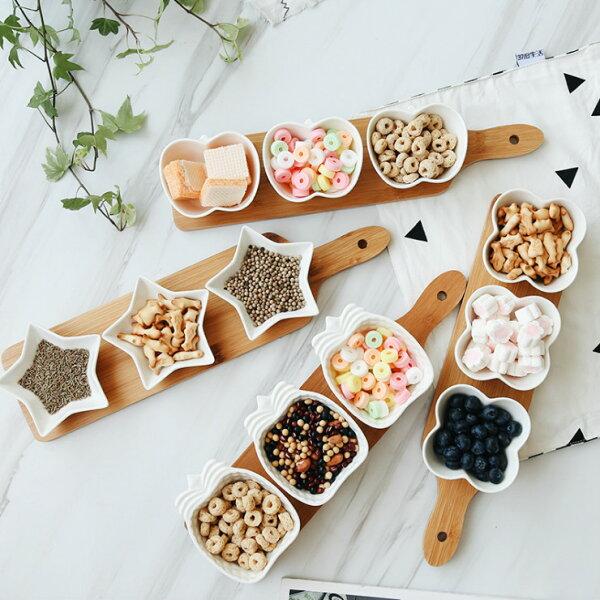Alice餐廚好物:日式簡約造型蘋果鳳梨星星幸運草小碗托盤四件組|4款|零食碟|水果盤|新年推薦|預購