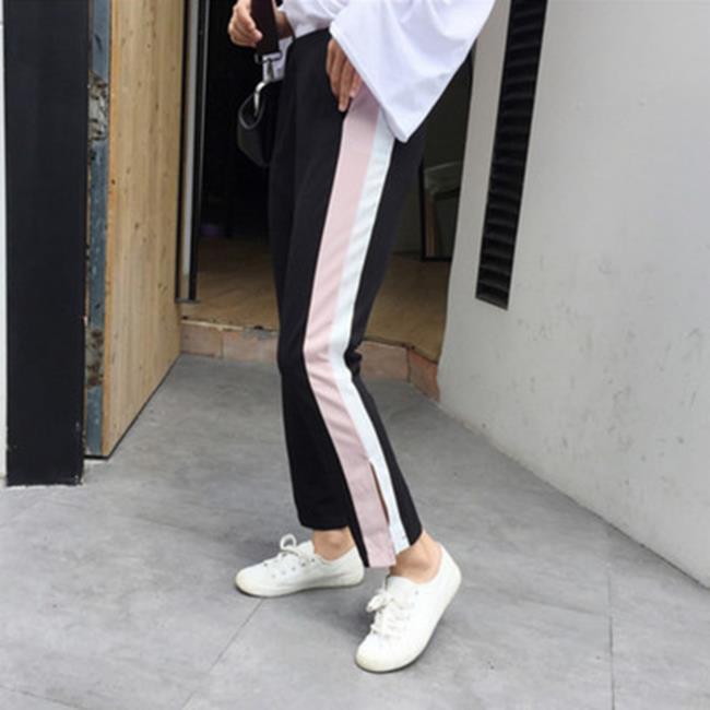 50^%OFF~G017340P~(實拍)  高腰拼接休閒顯瘦闊腿褲女寬鬆九分褲 ~  好