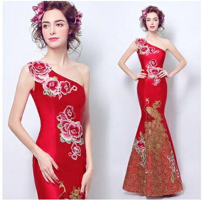天使嫁衣【AE2132】紅色花朵斜單肩魚尾修身長禮服˙預購訂製款