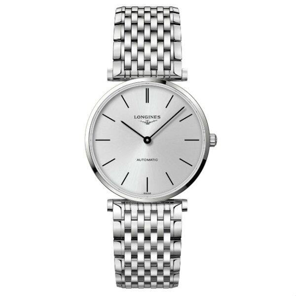 LONGINES浪琴錶L49084726嘉嵐機械超薄優雅腕錶銀灰面36mm