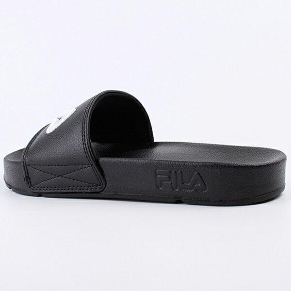 Shoestw【4-S313T-021】FILA 拖鞋 韓版 潮拖 電繡 大LOGO 棉內襯 黑色 男女尺寸都有 4