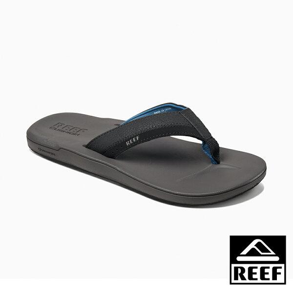 【新品9折↘】REEF新軟Q系列超Q彈鞋床舒適好穿防滑耐磨男款夾腳拖人字拖鞋.灰藍RF0A2YFXGBL
