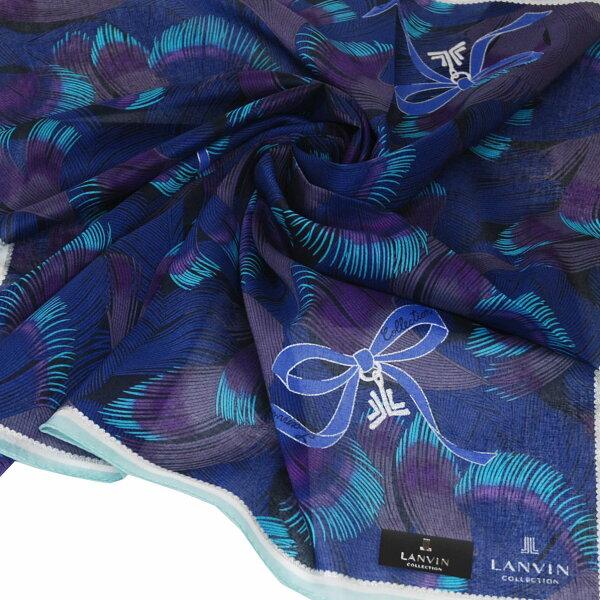 LANVIN經典品牌羽毛印花蝴蝶圖騰燙銀LOGO大帕領巾(藍系)