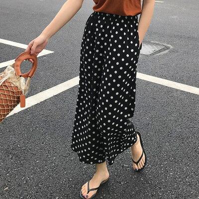 韓系女裝chic鬆緊腰波點雪紡直筒褲休閒九分褲樂天時尚館。預購。[全店免運]