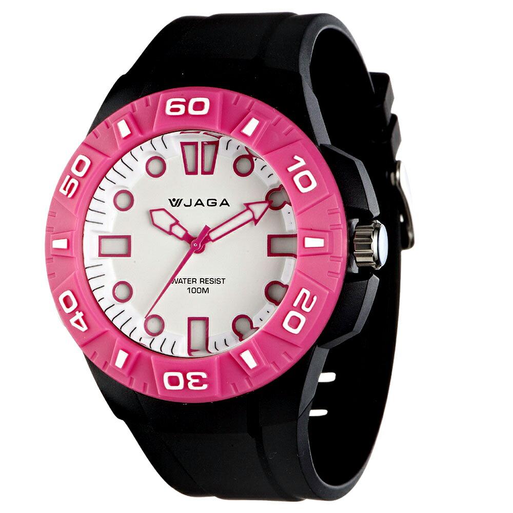 JAGA 捷卡 AQ1080-AG 時尚潮流亮彩防水指針錶 - 黑粉 0