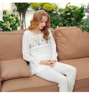 美琪韓版刺繡產後哺乳孕婦紗布月子服舒適透氣純棉套裝