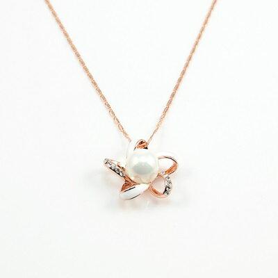 ~玫瑰金項鍊 純銀珍珠吊墜~ 優雅精緻花朵情人節生日 女飾品73kt16~ ~~米蘭 ~