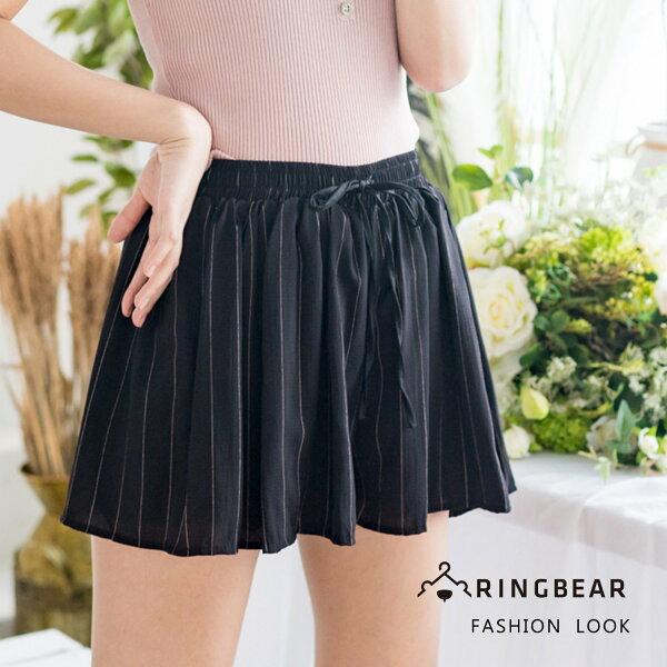 氣質短褲--舒適休閒風直條紋綁帶鬆緊高腰寬鬆百搭雪紡短褲裙(黑L-4L)-R216眼圈熊中大尺碼