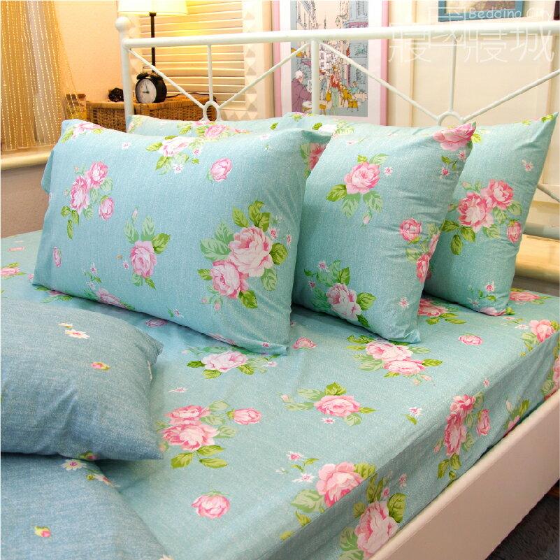 加大雙人床包涼被4件組-夢遊花綠 【精梳純棉、吸濕排汗、觸感升級】台灣製造 # 寢國寢城 4