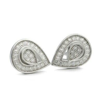 925純銀耳環鑲鑽耳飾~精緻小巧水滴 情人節 女飾品2色73dm57~ ~~米蘭 ~