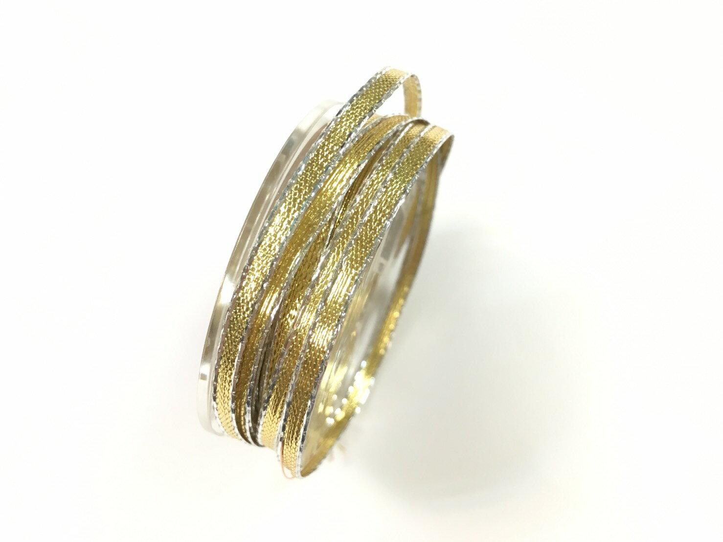 【Crystal Rose緞帶專賣店】 金屬彩邊鐵絲緞帶 3mm 3碼 (4色) 3