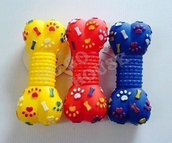 ☆狗狗之家☆寵物啾啾叫玩具~狗骨頭(紅,黃,藍)3色可選