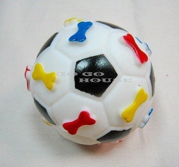 ☆狗狗之家☆寵物啾啾叫玩具~狗骨頭圖案足球