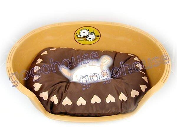 ☆狗狗之家☆防水塑膠寵物睡盆/睡窩/睡床~棕色(四季可用睡盆+睡墊)