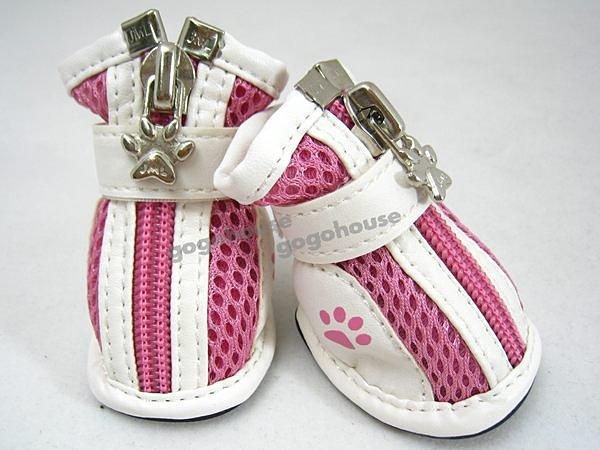 ☆狗狗之家☆狗腳印防滑透氣寵物運動鞋~粉色