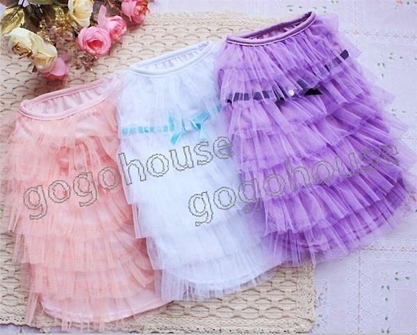 ☆狗狗之家☆層層薄紗蛋糕裙禮服~白,紫,粉