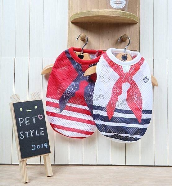 ~狗狗之家~Petstyle假領巾條紋洞洞衫~紅領巾