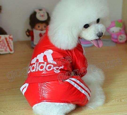☆狗狗之家☆adidog防風四腳連身褲裝~紅色