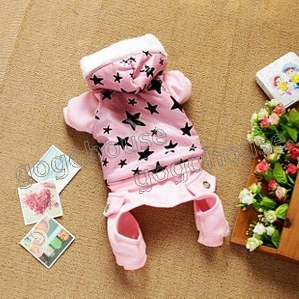 ☆狗狗之家☆星星鋪棉防風連身四腳褲裝~粉色