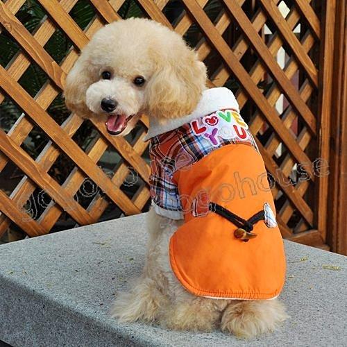 ☆狗狗之家☆牛角扣羊羔絨格紋保暖外套~橙色