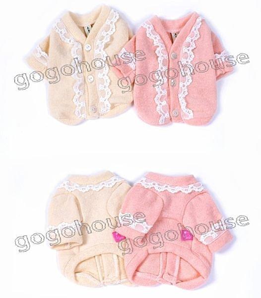 ~狗狗之家~ 艾比ABBY蕾絲羊毛針織開襟外套~粉色,杏色