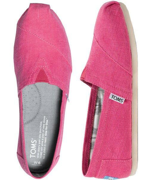 【TOMS】粉紅色亞麻平底休閒鞋  Earthwise Pink Women's Vegan Classics 5