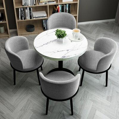 接待洽談桌簡約接待洽談桌椅組合網紅小圓桌陽臺休閒沙發椅店鋪會客餐桌椅子『DD2226』 4