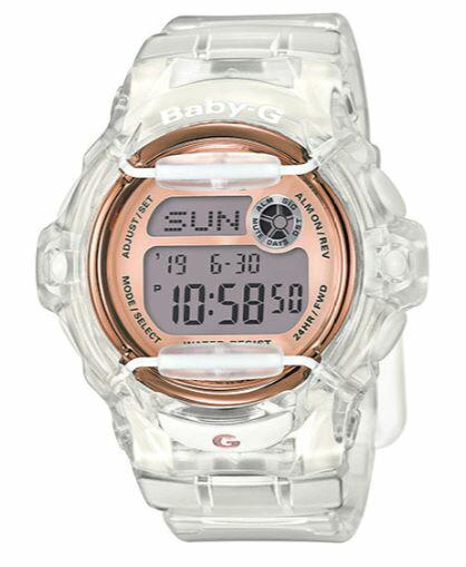 Casio Baby-G BG169G-7B Face Protector Ion-Plated Metal Rose Gold semi-transparent Watch Digital - BG169G-7B