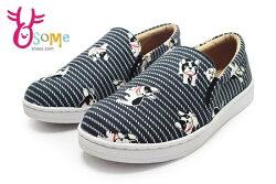 法鬥犬童休閒鞋 真皮鞋墊 台灣製 鬆緊帶懶人便鞋K7312#黑◆OSOME奧森鞋業