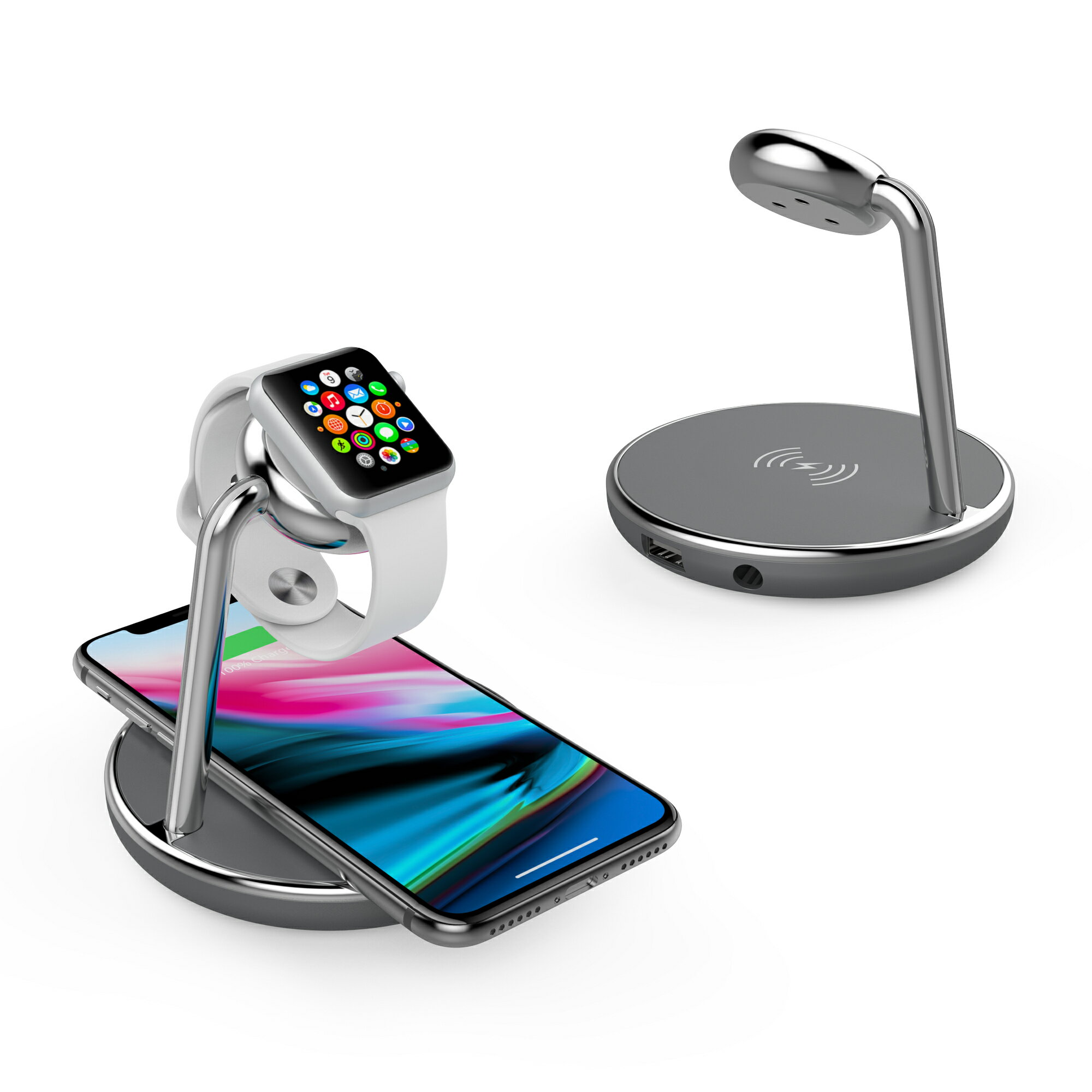 Element Works Usa Apple Mfi Certified Wireless Charging Stand Watch Dock With Built In Module Usb Ports And