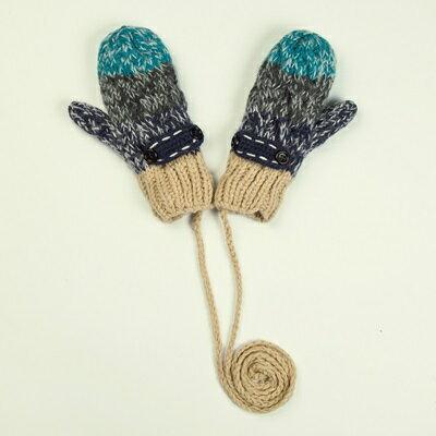針織手套羊毛手套-鈕扣條紋加絨連指女手套3色73or26【米蘭精品】